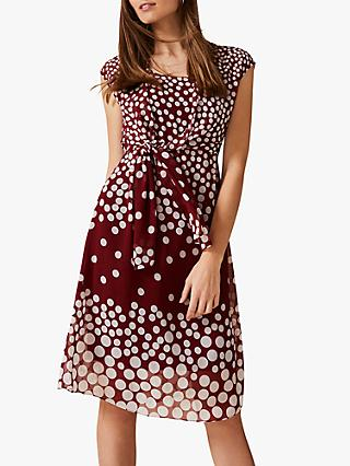 Phase Eight Candice Spot Dress, Cinnamon