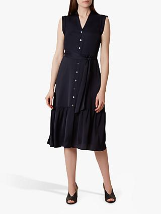 Hobbs Selma Tie Front Dress, Navy