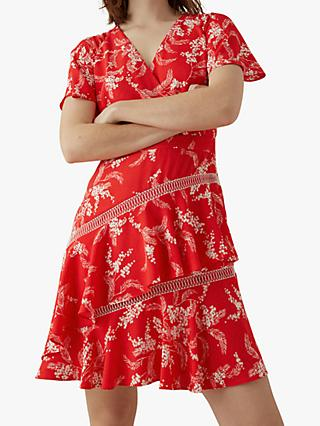 Karen Millen Tiered Hem Dress, Red/Multi