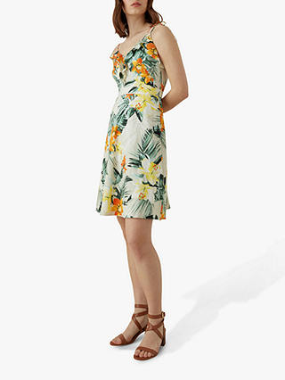 Buy Karen Millen Tropical Print Cotton Mini Dress, Cream/Multi, 16 Online at johnlewis.com
