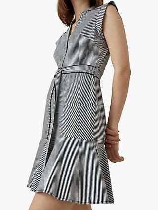 Karen Millen Stripe Dress, Black/White