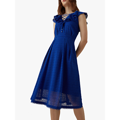 Karen Millen Broderie Midi Dress, Blue