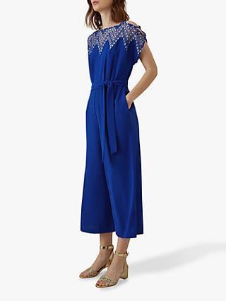 548a879369 Karen Millen Embroidered Wide Leg Jumpsuit, Blue
