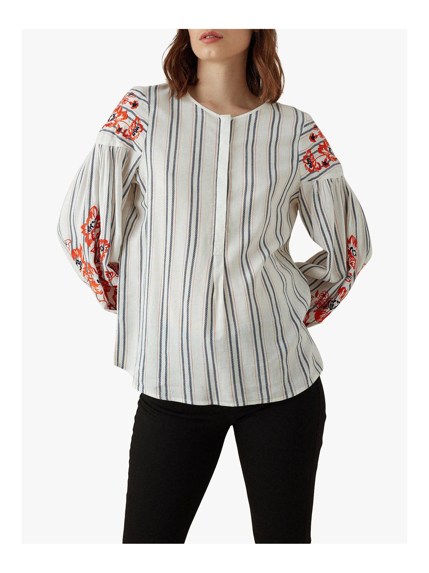 d94bf0432b11 Buy Karen Millen Embroidered Top, White/Multi, 8 Online at johnlewis.com ...