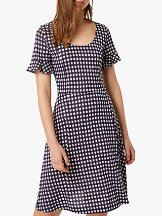 French Connection Gingham Skater Dress, White/Utility Blue