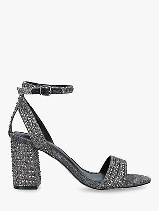 Carvela Kianni Stud Jewelled Block Heel Sandals, Grey Pewter