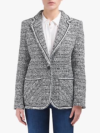 Helene For Denim Wardrobe Carinne Tweed Jacket, Black/White