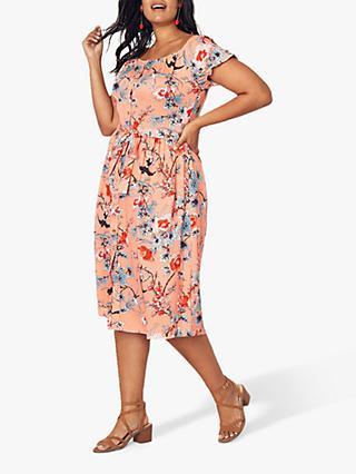 e8724605f3cf Oasis Curve Floral Print Midi Dress, Orange/Multi