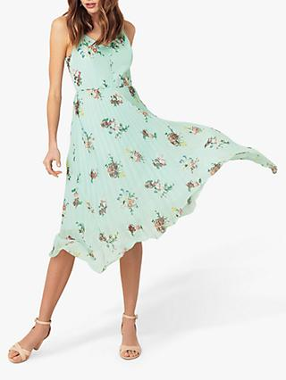 Oasis Floral Pleat Cami Dress, Multi/Green