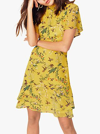 Oasis Tiered Skater Dress, Multi/Yellow