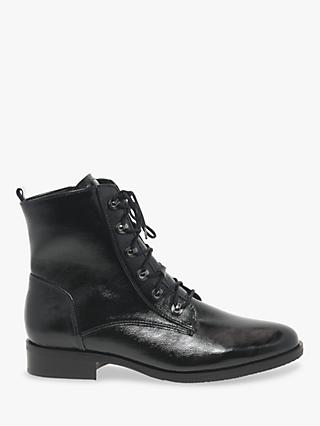 Gabor Keady Wide Fit Lace Up Leather Ankle Boots, Black