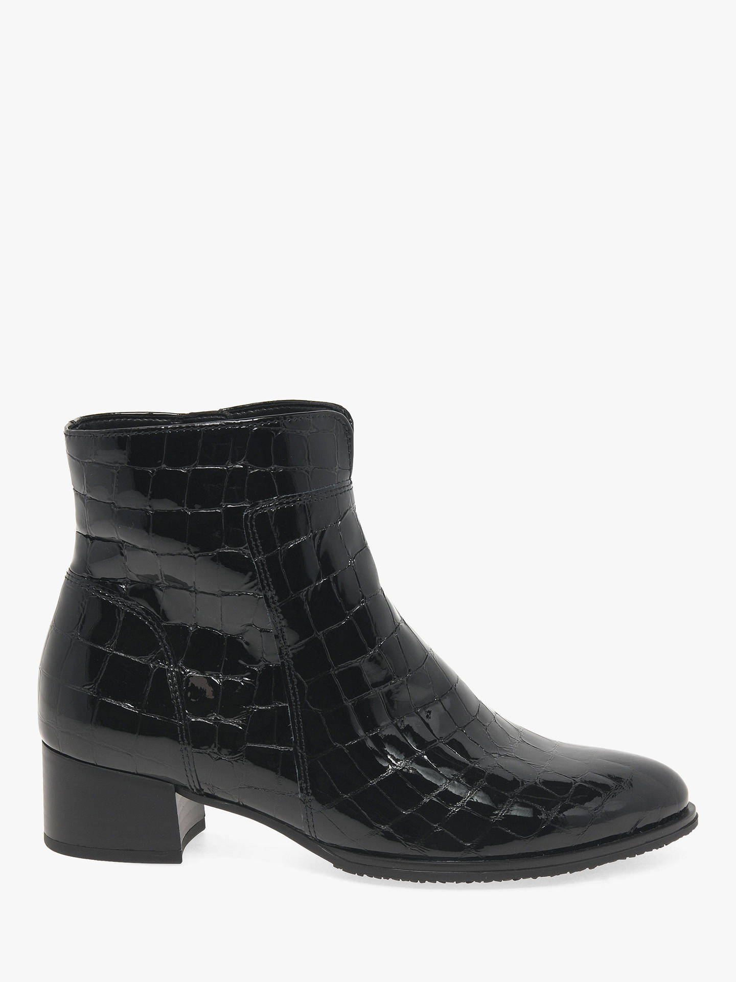 performance sportswear elegant and graceful rich and magnificent Gabor Delphino Block Heel Leather Ankle Boots, Black Patent