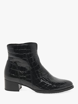 Gabor Delphino Block Heel Leather Ankle Boots, Black Patent