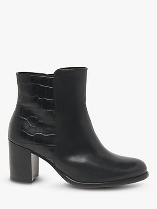 Gabor Lennox Block Heel Leather Ankle Boots, Black