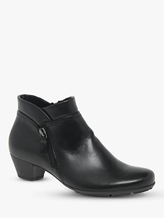 Gabor Emilia Block Heel Leather Ankle Boots, Black