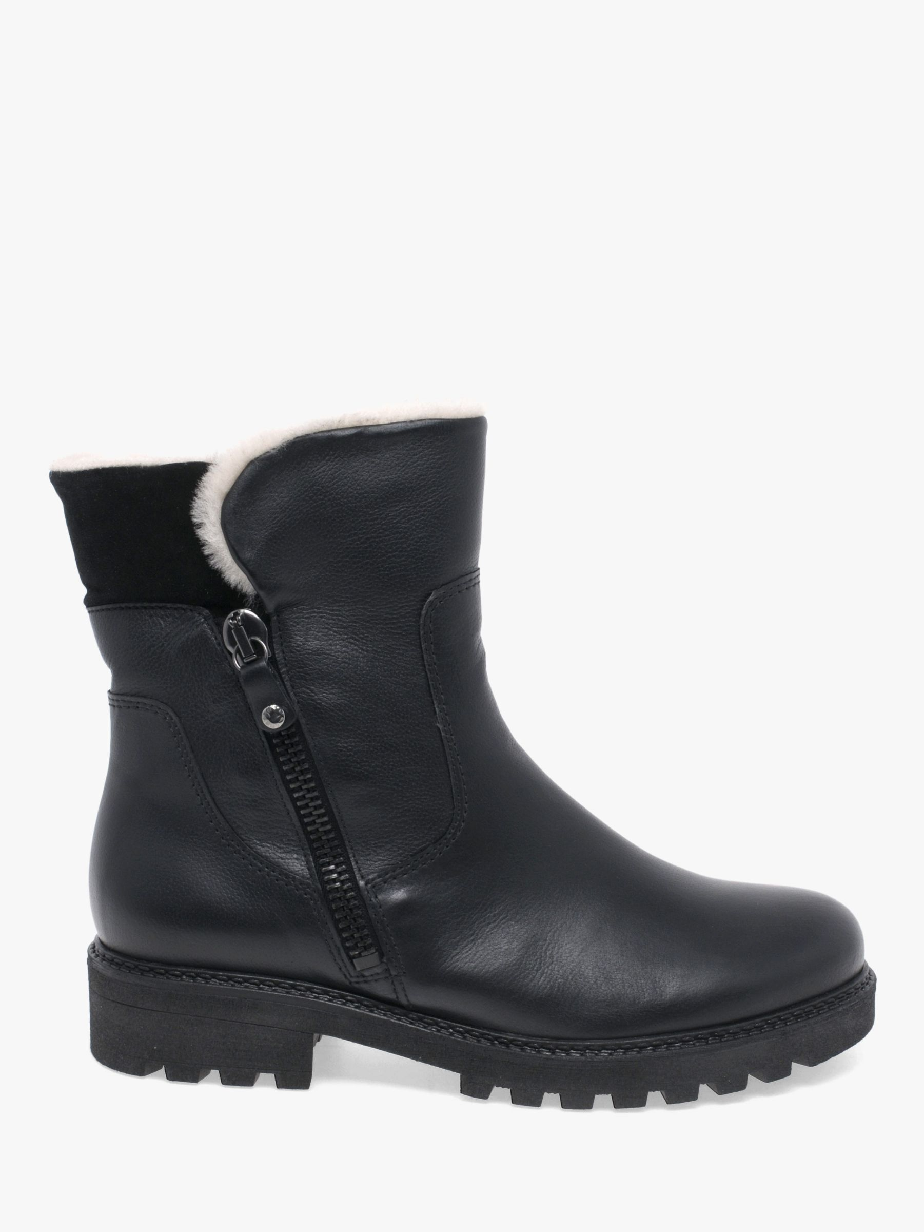 Gabor Gabor Balban Leather Biker Boots, Black
