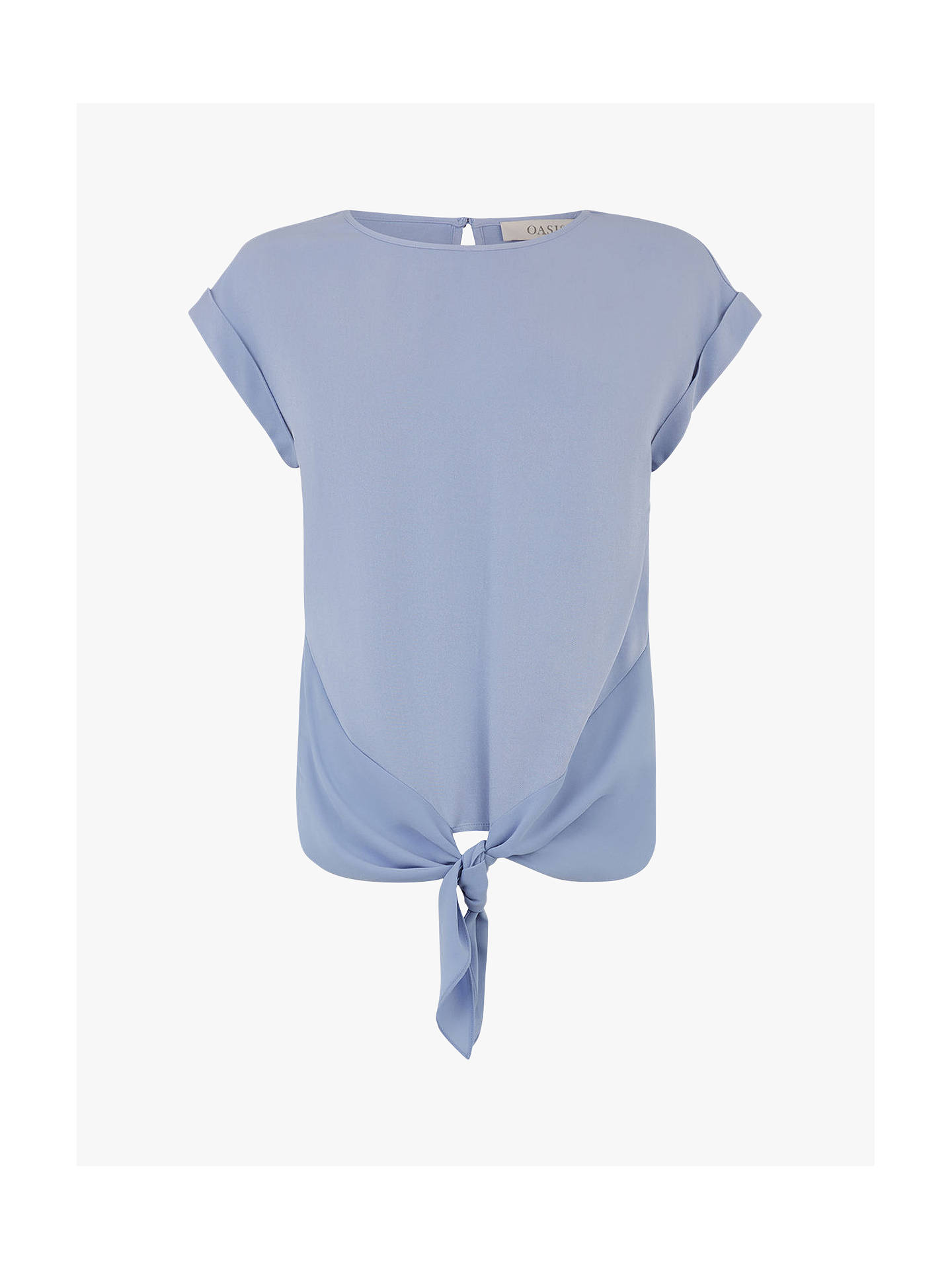 Buy Oasis Casual Roll Sleeve T-Shirt, Light Blue, 8 Online at johnlewis.com