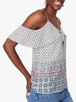 Oasis Tile Patched Camisole, Multi/Blue