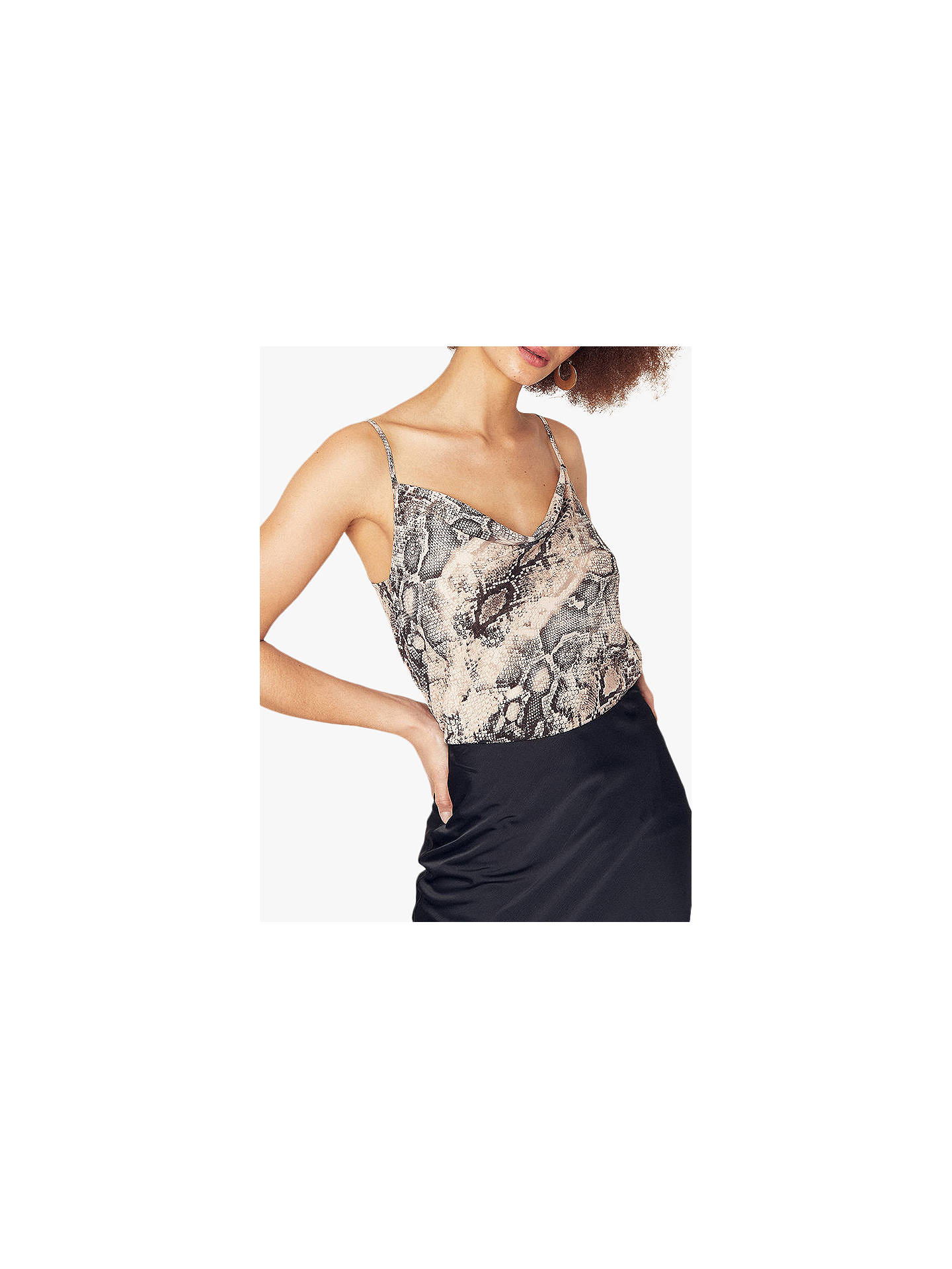 3f1fe4968a17 Buy Oasis Snake Print Cowl Neck Cami Top, Multi, 6 Online at johnlewis.