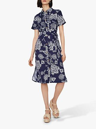 Warehouse Balinese Floral Shirt Dress, Navy