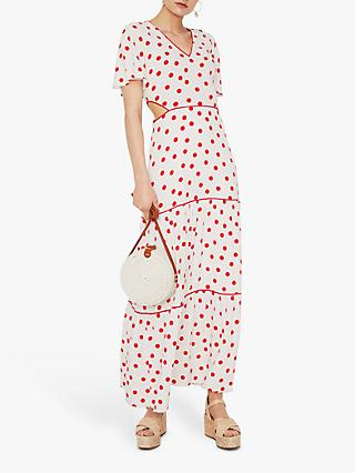 Warehouse Spot Tiered Maxi Dress, White/Red
