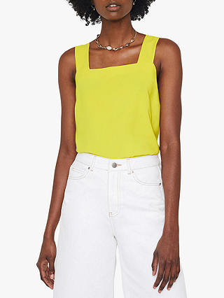 Buy Warehouse Square Neck Shell Top, Yellow, 10 Online at johnlewis.com
