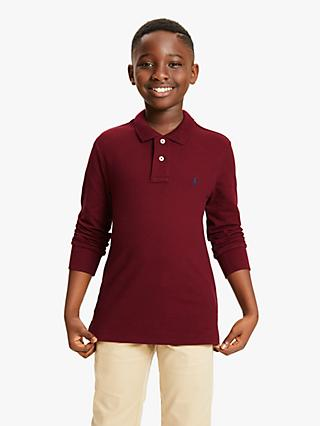 2b6e80246f Polo Ralph Lauren Boys' Long Sleeve Polo Shirt, Burgundy