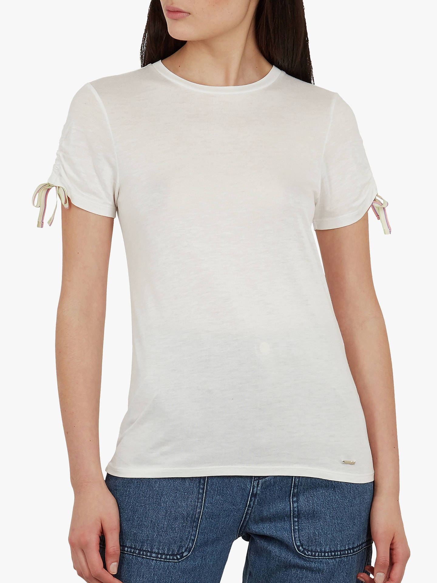 7506f1de56b5e8 Buy Ted Baker Caneiro Ruched Sleeve T-Shirt, Ivory, XS Online at johnlewis  ...