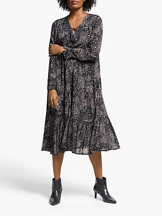 AND/OR Sofia Santiago Print Midi Dress, Grey Charcoal