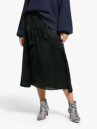 AND/OR Georgia Satin Midi Skirt, Black