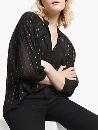 AND/OR Dash Lurex Blouse, Black/Gold