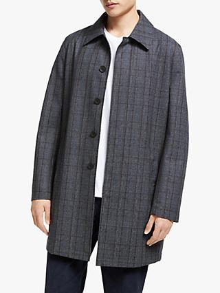 Kin Wool Blend Check Mac Coat, Grey