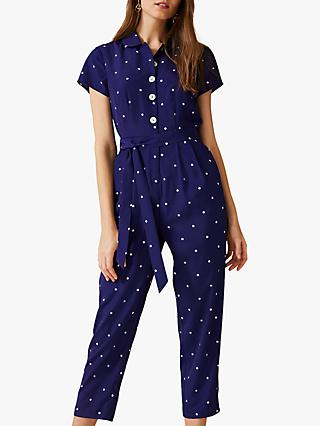 Phase Eight Carmel Polka Dot Cropped Jumpsuit, Cobalt