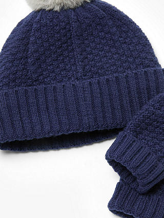 John Lewis Lined Bobble Hat And Gloves Age 1-2