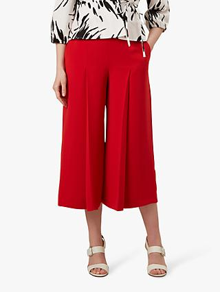 Hobbs Vita Pleat Detail Cropped Wide Leg Trousers, Red
