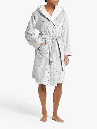 John Lewis & Partners Foil Star Print Fleece Robe, Grey/Rose Gold