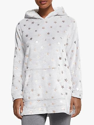 John Lewis & Partners Foil Star Fleece Snuggle Lounge Top, Grey/Rose Gold