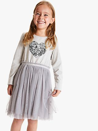 John Lewis & Partners Girls' Sequin Tulle Dress, Grey