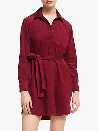 People Tree Franca Cord Shirt Dress, Red