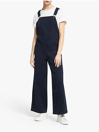 People Tree Coco Twill Dungarees, Navy