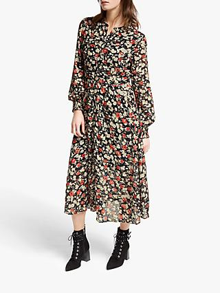 Somerset by Alice Temperley Floral Coupe Midi Dress, Rust/Neutral