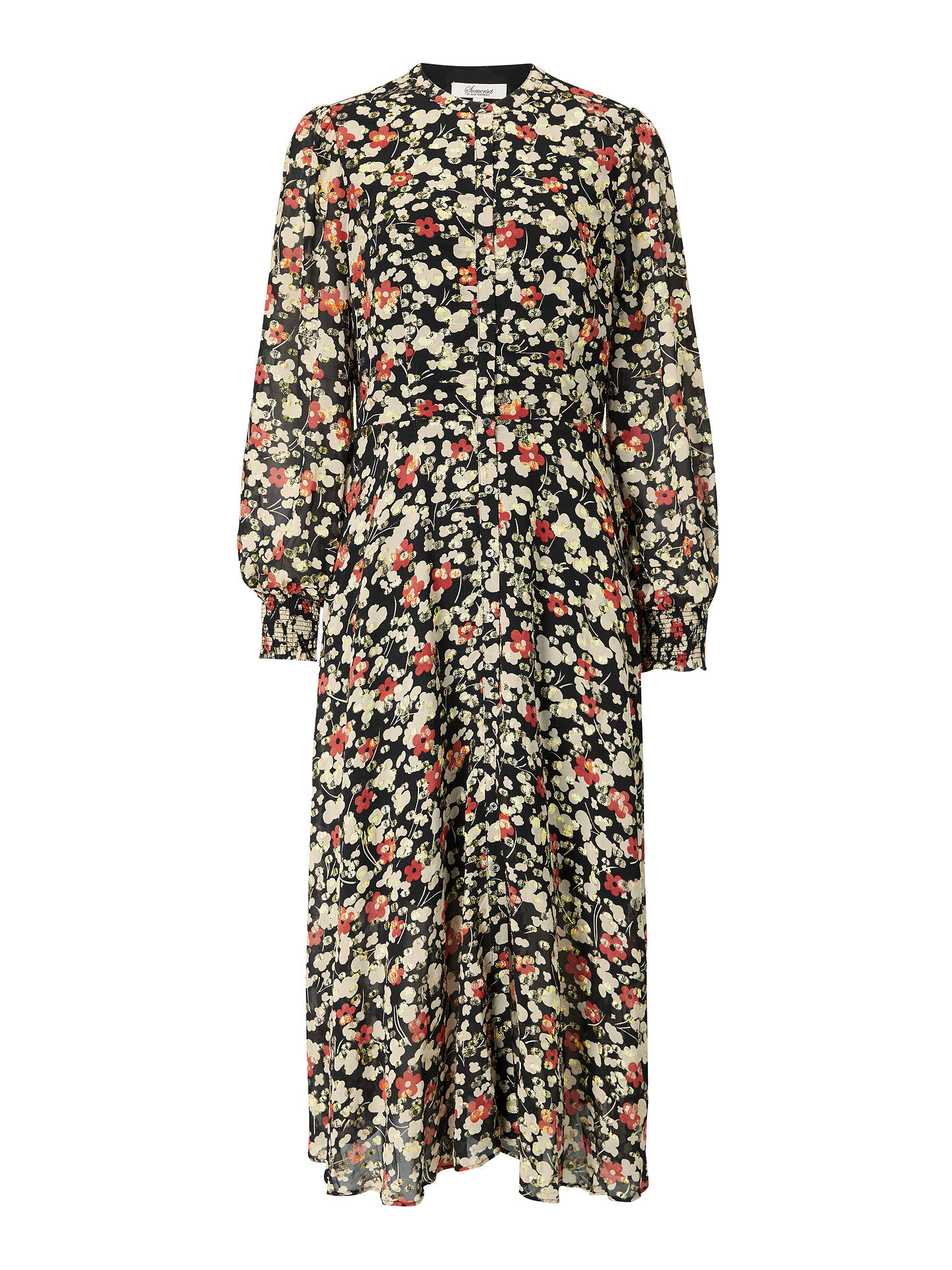 Buy Somerset by Alice Temperley Floral Coupe Midi Dress, Rust/Neutral, 8 Online at johnlewis.com