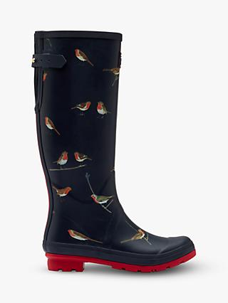 Joules Robins Print Waterproof Tall Wellington Boots, Navy