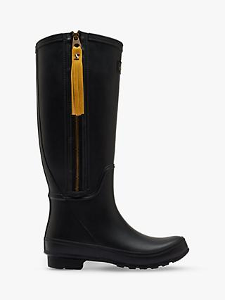 Joules Collette Zip Waterproof Rubber Wellington Boots, Black
