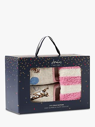 Joules Cat Slippers & Cosy Socks Gift Set, Multi