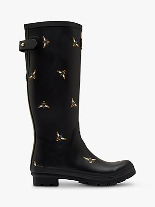 Joules Bee Print Waterproof Tall Wellington Boots, Black