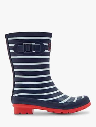Joules Molly Stripe Waterproof Mid Wellington Boots, Navy