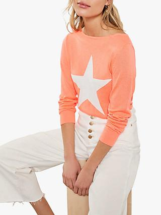 Mint Velvet Neon Star Front Jumper, Orange