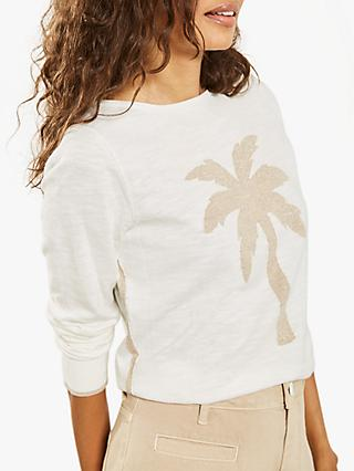 Mint Velvet Ivory Palm Tree Motif Jumper, Ivory