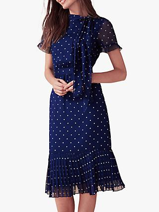 Phase Eight Sonia Spot Pleat Dress, Lapis